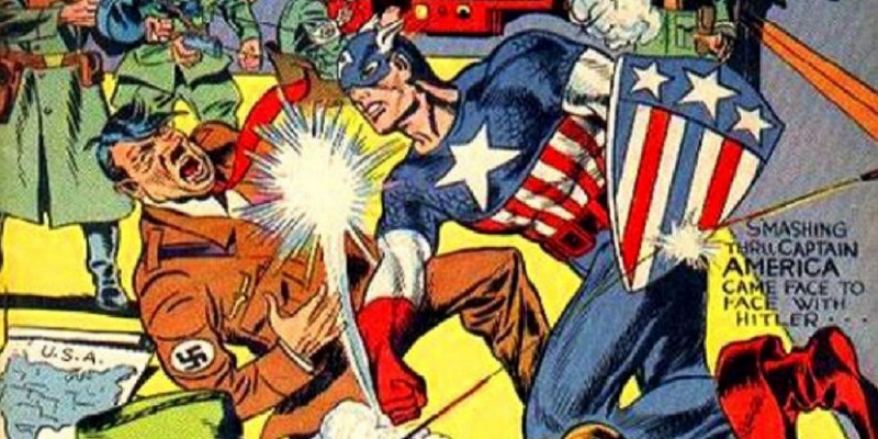 cartoon of captain america punching a nazi