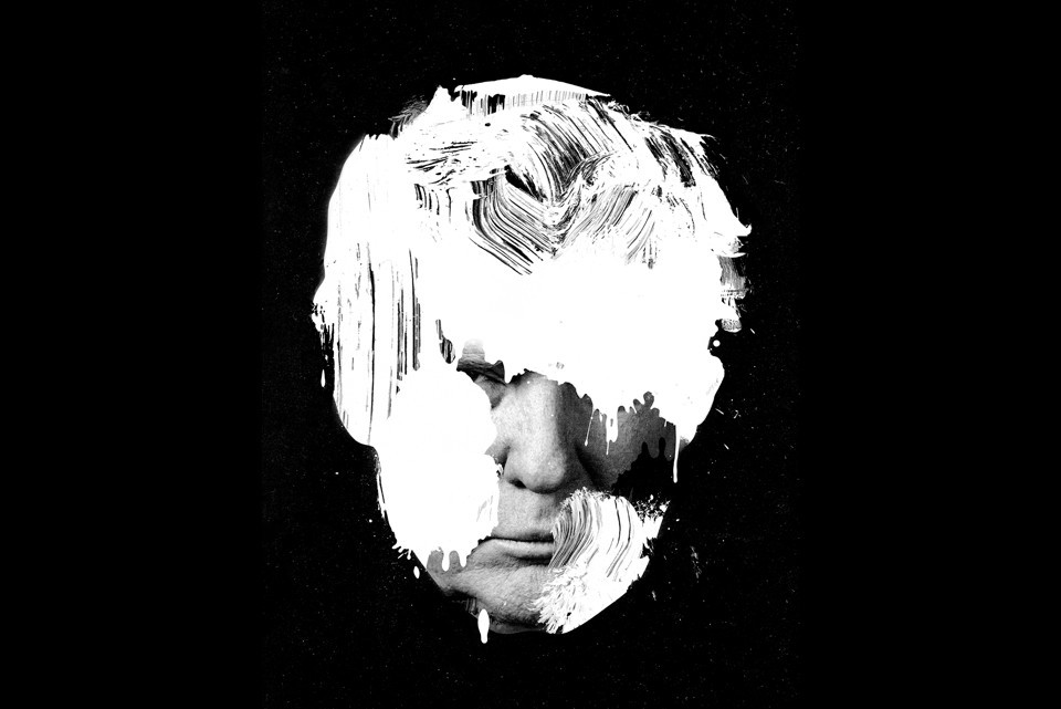 Image to Atlantic article featuring outline of Donald Trump's head in white with black background - The First White President